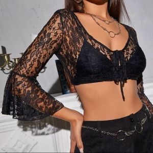 Lace tie front sheer top Without bra